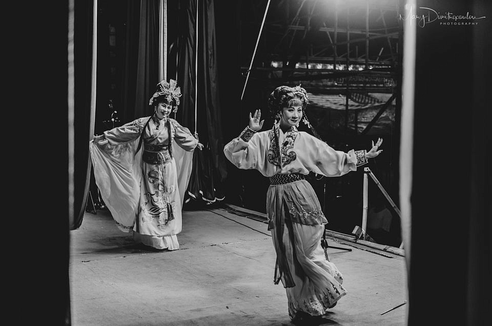 Two Chiuchow opera singers while they perform on stage